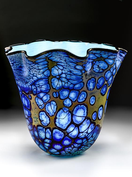Cobalt Webbed Fluted Bowl