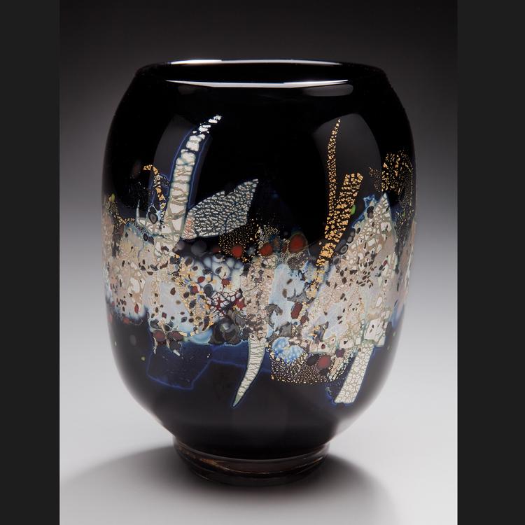 Black Gold & Silver Vase