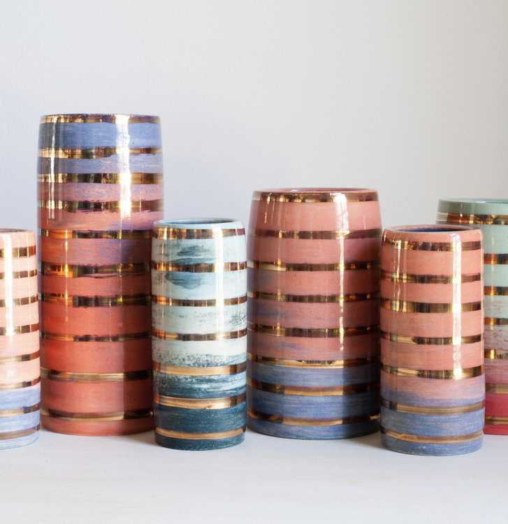 Gold Luster Vases