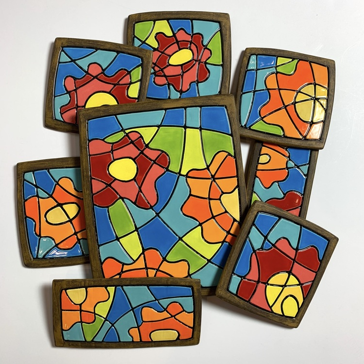 Abstract Flower Tiles