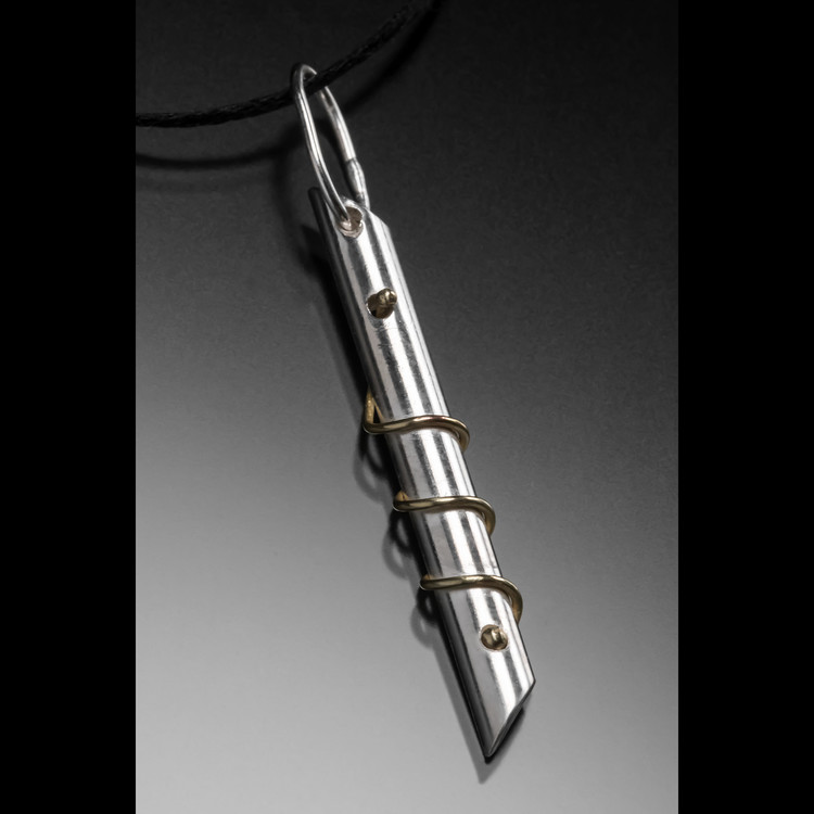 """Coils"" - Sterling Silver and Brass Beveled Necklace"