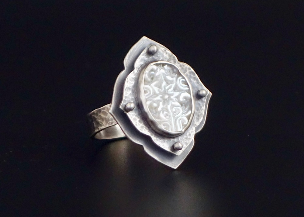 Carved Mother of Pearl Ring