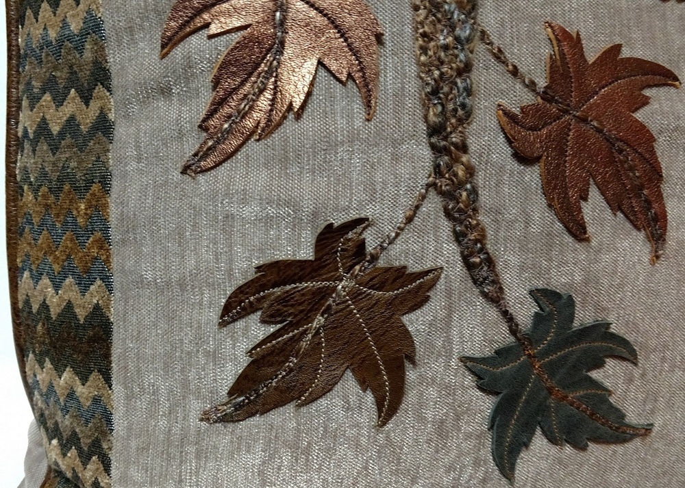 Detail of Maple Branch Pillow