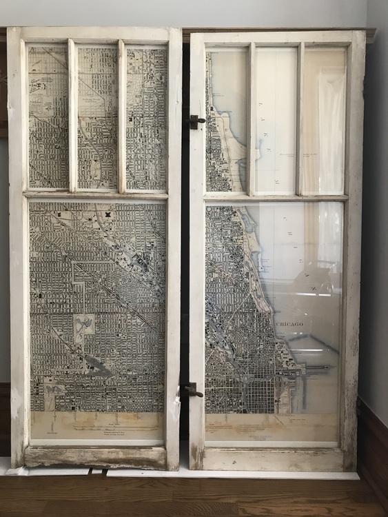Digital art in reclaimed window